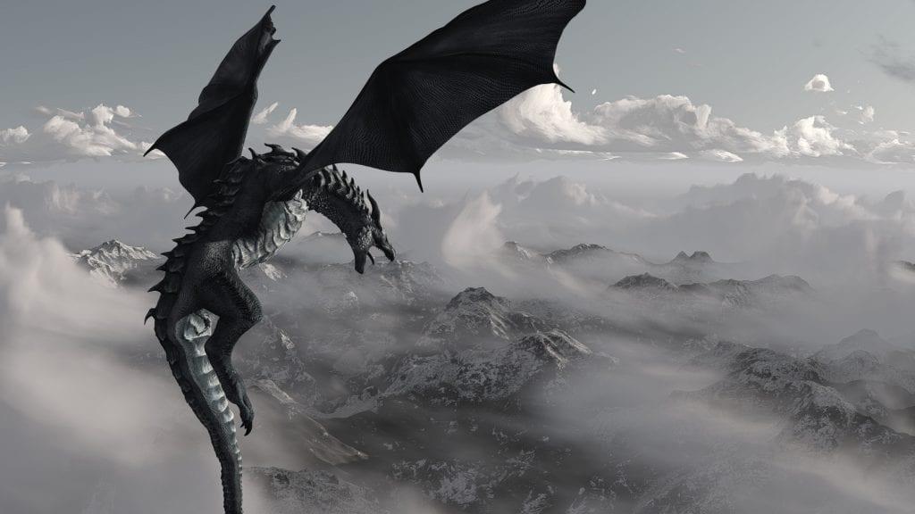 drak-myticka-bytost-obloha-oblaky-kridla