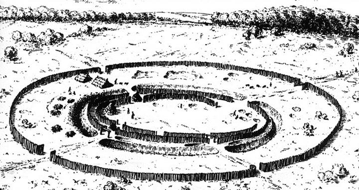 rondel-kresba-priekopy-ohrady-maketa-domy-neolit