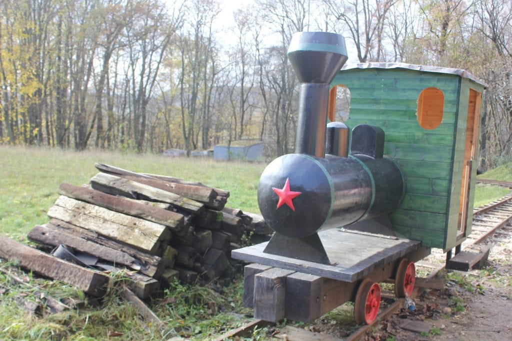 lesna-zeleznica-atrapa-lokomotivy-drevo-tazba-kolajnica-stromy-luka