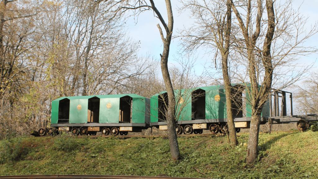 lesna-zeleznica-katarinka-vagony-kolajnice-obloha-stromy
